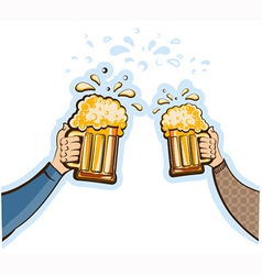 hands man with glasses of beer oktoberfest vector image vector image