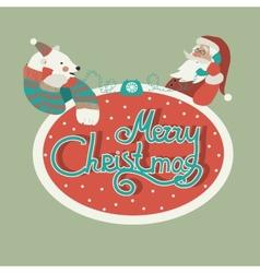 Polar bear and Santa Claus talking by phone vector image vector image