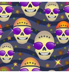 Seamless pattern with skulls on star background vector image
