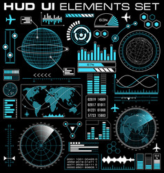 set of futuristic graphic user interface hud vector image vector image