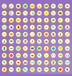 100 computer icons set in cartoon style vector