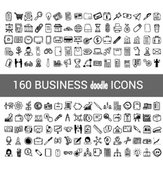 160 business doodle icon for your infographic vector