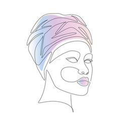 african woman in turban portrait line drawing vector image