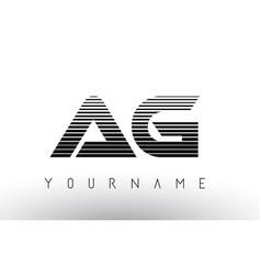 Ag black and white horizontal stripes letter logo vector