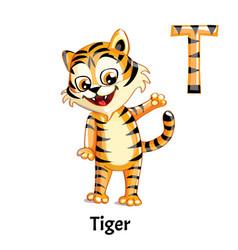 Alphabet letter t tiger vector