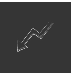Arrow downward Drawn in chalk icon vector