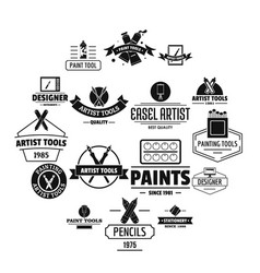 artist tool logo icons set simple style vector image