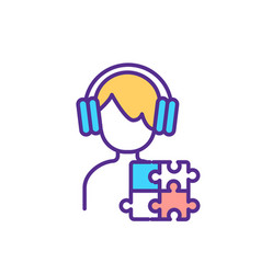 Autistic teenager rgb color icon vector