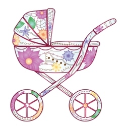 Baby carriage with gradient flowers vector image