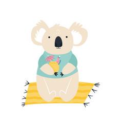 beach koala summer animal concept vector image
