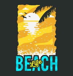 Beach summer poster design with sunrise above the vector