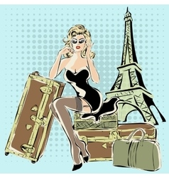 Beautiful pin-up woman sitting on suitcases near vector image