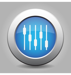 Blue metallic button white equalizer symbol icon vector