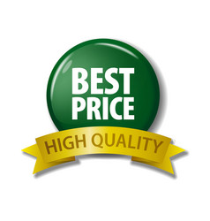 bright green button best price - high quality vector image