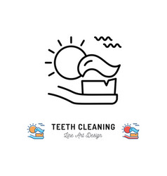 brushing teeth morning toothbrush with toothpaste vector image