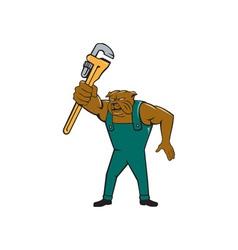 Bulldog Plumber Monkey Wrench Isolated Cartoon vector image