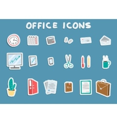 Business Office Sticker Icons Set vector image