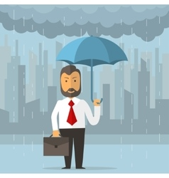 Businessman holding an umbrella vector