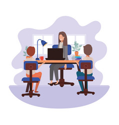 Businesswoman in office with boys avatar vector