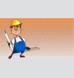 cartoon man in uniform with tools for plaster wall vector image