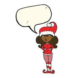 Cartoon santas helper woman with speech bubble vector