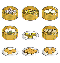 Chinese dim sum icons vector