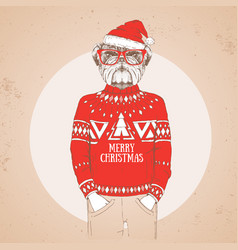 Christmas hipster fashion bulldog vector