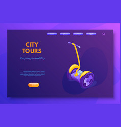 city tours landing page template isolated vector image