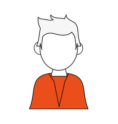 Color silhouette image half body faceless man with vector