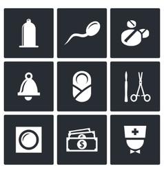 Conception pregnancy birth icon set vector