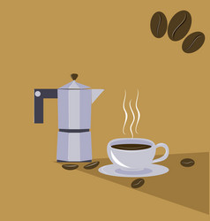 Cup and coffee maker vector