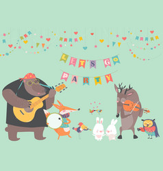 Cute animal music band vector