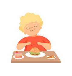 Cute overweight boy eating burger kid enjoying vector