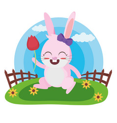 cute rabbit with flower vector image