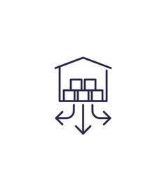distribution center warehouse line icon vector image