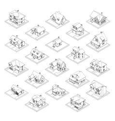 Drawing of private house set vector