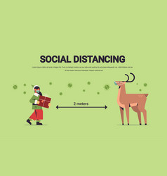 elf with reindeer in masks keeping social distance vector image