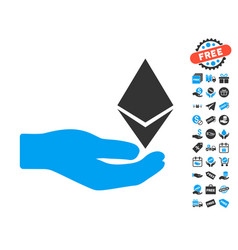 Ethereum offer hand icon with free bonus vector
