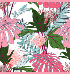 exotic pink monstera and green tropical leaves vector image