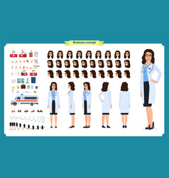 female doctor character creation setfront side vector image