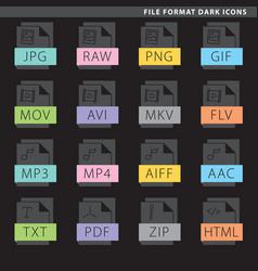 File format dark icons vector