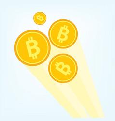 Flat golden bitcoin btc cryptocurrency vector