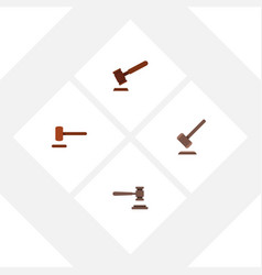 Flat icon hammer set of legal defense justice vector