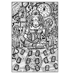 Fortune teller with tarot cards engraved vector