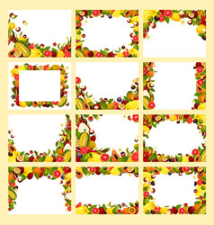 Fruit frame with fresh exotic and tropical berry vector