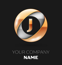 golden letter j logo in the silver-golden circle vector image