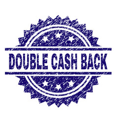 Grunge textured double cash back stamp seal vector