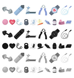 Gym and training cartoon icons in set collection vector
