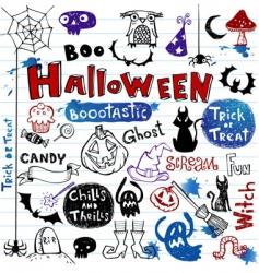 Halloween doodle set vector
