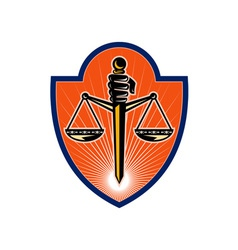 Hand holding sword scales of justice vector image